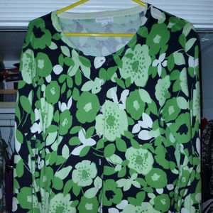 Charter Club XL button down top green black white